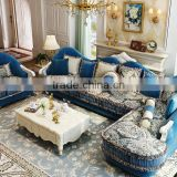 Warm blue color flower painting fabric corner sofa set