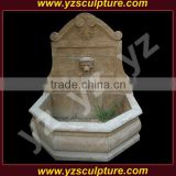 garden antique hand carved stone wall water fountain with lion head