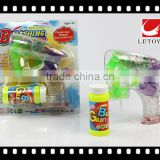 transparent color musical bubble gun with 1 bottle bubble water