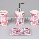 4pcs ceramic bathroom set,bathroom accessories ceramic,Promotion Gift premium in colorful display box accessories set