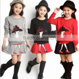 2Pcs/set New kids clothes girls clothing sets baby girl cartoon t-shirt skirt children girl dress clothes winter warm 8-16 years