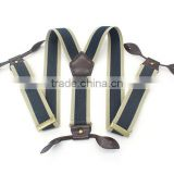 Mens Womens Elastic Leather Button Suspenders Adjustable 6 Holes Braces