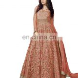 Wedding Party Wear Net Anarkali Style Lehenga Suits 2017 (Semi-Stitched)
