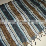 Cotton Printed Scarf With Fringes & Crushed Effect