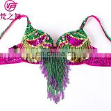 YD-068 Hot sexy long beaded tassel egypt belly dance bra