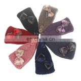 New design hotsale lady's knitted hairband bowknot decoration headwrap hair band
