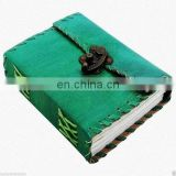 Green Leather Journal Diary Sketchbook Notebook Handmade Vintage Lock Closer S4
