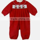 Newest design baby toddler christmas boutique santa red smocked dress , new baby dress