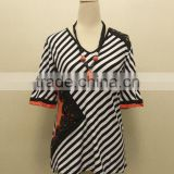 fashion lace black-and-white stripe plus size blouse for woman
