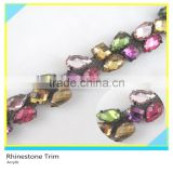 Pretty Metal Chain mix Color Acrylic Beaded Trim For Bags Decoration