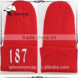 Beanie hats and caps sports hip hop red black winter knit hat 2 colors good quality cheap beanie