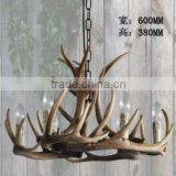 Hotel villa decorative lighting black vintage resin deer antler chandelier                                                                         Quality Choice