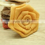 Round flat burlap flower cute phone back applique, women waistband decorated flower accessories
