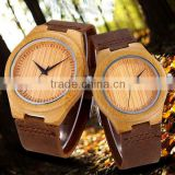 Japan Quartz Lover Watches with Genuine Leather Strap Bamboo Case Couple Watches