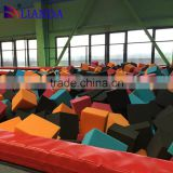 large trampolines with foam pit, cube foam pit, dodge ball indoor trampoline