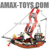 bd-7530127 plastic toys brick educational toys brick pirate ship 379pcs