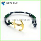 Hot selling design nylon nautical rope women men copper color anchor bracelet