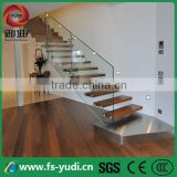 invisible stringer Indoor Steel wood straight residential floating stairs