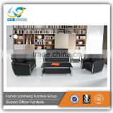 2016 newest style secitonal stainless steel base black PU 1+2+3 office furniture sofa set 750