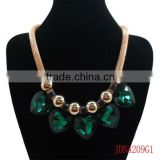 Gold Mesh Chain with Emerald Heart Diamond Jewelry Necklace