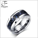 Blue & Black Carbon Fiber Tungsten Carbide Men's Women's Wedding Ring Band 8mm