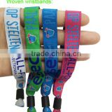 One Time Use Wristbands Polyester Custom Cloth Woven Wristband