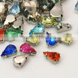 Sew on Acrylic Rhinestone Claw Setting, Clear Teardrop Rhinestone Beads for Cloth, 1000pcs/bag(GACR-A001-6x10-P)