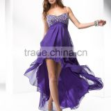 (MY4610) MARRY YOU Spaghetti Strap Beaded Purple Short Front Long Back Prom Dress