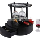 Wooden Wine Bottle Storage Display Rack with Glass Goblet Hanger Tool Drawer Durable Structure Classic Design for Home Bar Hotel