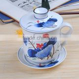 ceramic tea mug set with filter and lid with blue and white decal porcelain tea set