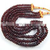 Natural Rhodonite Garnet Roundle Beads 3 strands in 1 necklace
