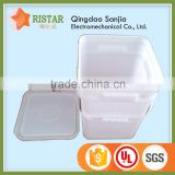 Chinese imports wholesale white or transparent 15 liter pp plastic square bucket with handle