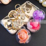 New Arrive Big Ball Inside With Crystal Flower Key Rings Pearl Keychain For Car Bag Key Chains Accessories