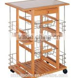 2017 good quality Factory wooden kitchen trolley with three metal wire brackets/ceramic tile on top with drawer and large volume