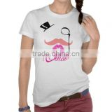 Black hat, red lip and mustache iron on sticker motif design