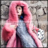 Winter High Quality Woman Desigual Clothes Red Fox Fur Coat with Mink Fur Collar and Sleeves Coat