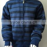 Manufacture Navy blue stripe style boy baseball jacket with hoody