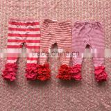 2016 new fashion baby spring 100% cotton stripe with soild color fuller ruffle icing pants
