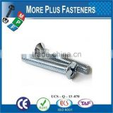 Made in Taiwan Stainless Steel Cross Raised Countersunk Head Machine Screw DIN 966 Carbon Steel