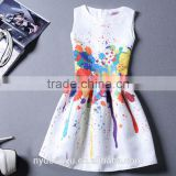 girl rainbow printed dress/beautiful girl sleeveless knee length printed dress/new design girl printed dress