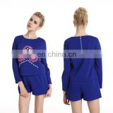 PowerSweet 2014 New Design Autumn Beaded Patterns Long Sleeve Two Pieces Blouse And Shorts For Woman