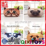 plush dog button felt pencil set wholesale plastic pencil case with compartments for kids/teenagers
