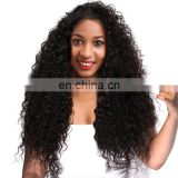 Woman hair wig curly wave peruvian lace front wigs