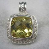 Designs Inspired DY Lemon Citrine 925 Silver 11mm Albion Pendant Enhancer