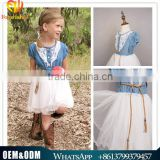 Forwishes Large Size Cowgirl Denim Tulle Dress Lace Collar Tops + Organze Tulle Skirt Kids Summer Wear