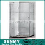 OEM shopkeeper foshan portable bathtub price hexagon 3 sides glass panel shower room partition