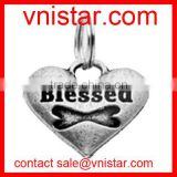 Wholesale Vnistar silver heart shape charm with blessed and bone stamped for DIY bangles bracelets size about 20mm TC177