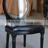 Black wooden frame black leather acrylic backrest restaurant chair XY0101