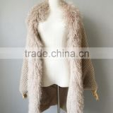 QD80531 Free Size New Design Real Mohair with Tibet Fur Trimming Shawl
