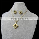 fashion two jewelry set latest design beads necklace and golden ear rings